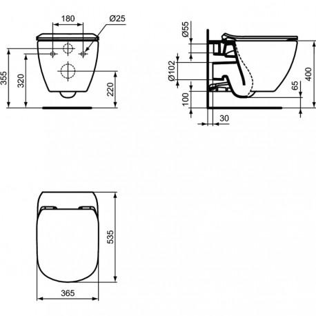 Ideal Standard Tesi Wall Hung Toilet Bide And Seat T354601 Quaranta Ceramiche