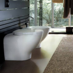 Geberit Join wall hung toilet pan with soft close seat and bidet