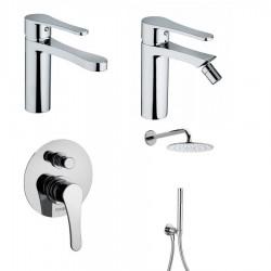 Bongio O' Clock miscelatore lavabo, bidet, doccia incasso con deviatore e soffione con doccetta