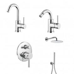 Paini Cox small miscelatore lavabo, bidet, doccia incasso con deviatore e soffione con doccetta