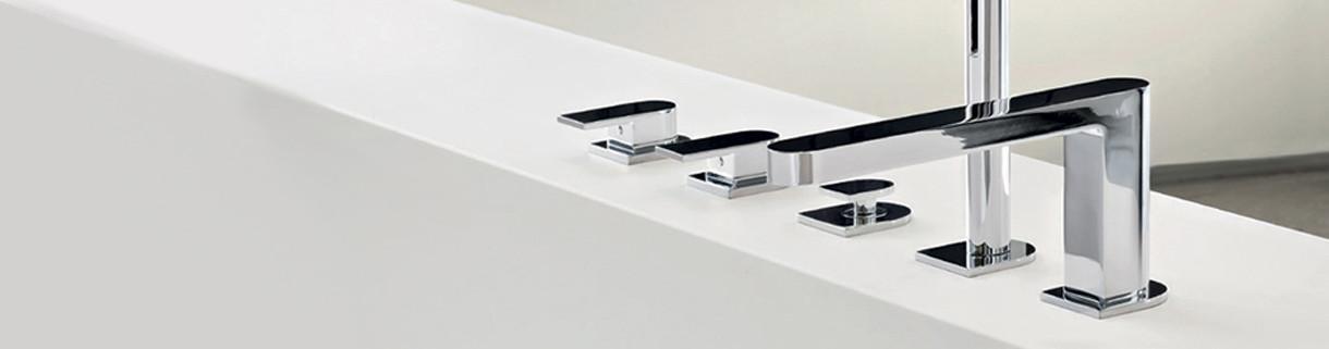 Deck-mounted bath taps